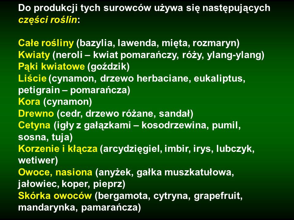 Do produkcji tych surowców używa się następujących części roślin: