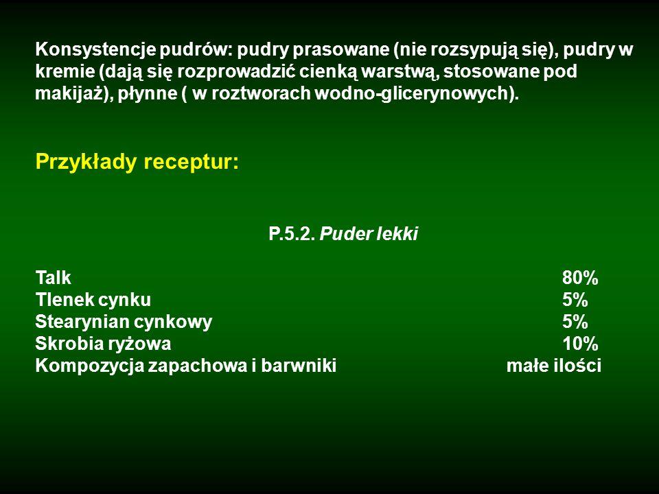 Konsystencje pudrów: pudry prasowane (nie rozsypują się), pudry w kremie (dają się rozprowadzić cienką warstwą, stosowane pod makijaż), płynne ( w roztworach wodno-glicerynowych).