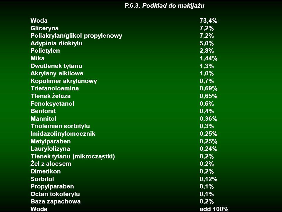 P.6.3. Podkład do makijażuWoda 73,4% Gliceryna 7,2% Poliakrylan/glikol propylenowy 7,2%