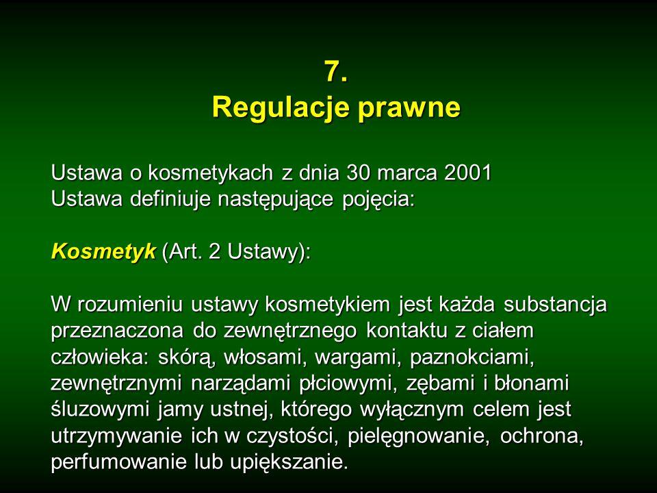 7. Regulacje prawne Ustawa o kosmetykach z dnia 30 marca 2001