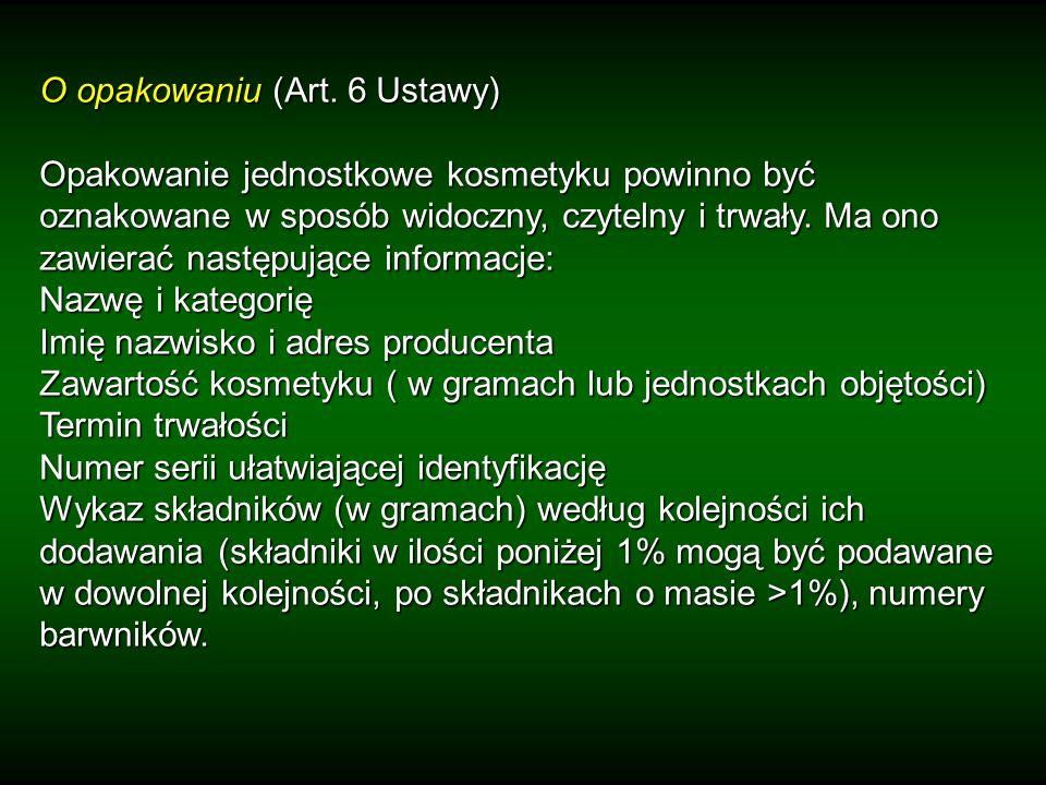 O opakowaniu (Art. 6 Ustawy)