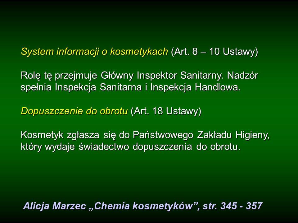 System informacji o kosmetykach (Art. 8 – 10 Ustawy)