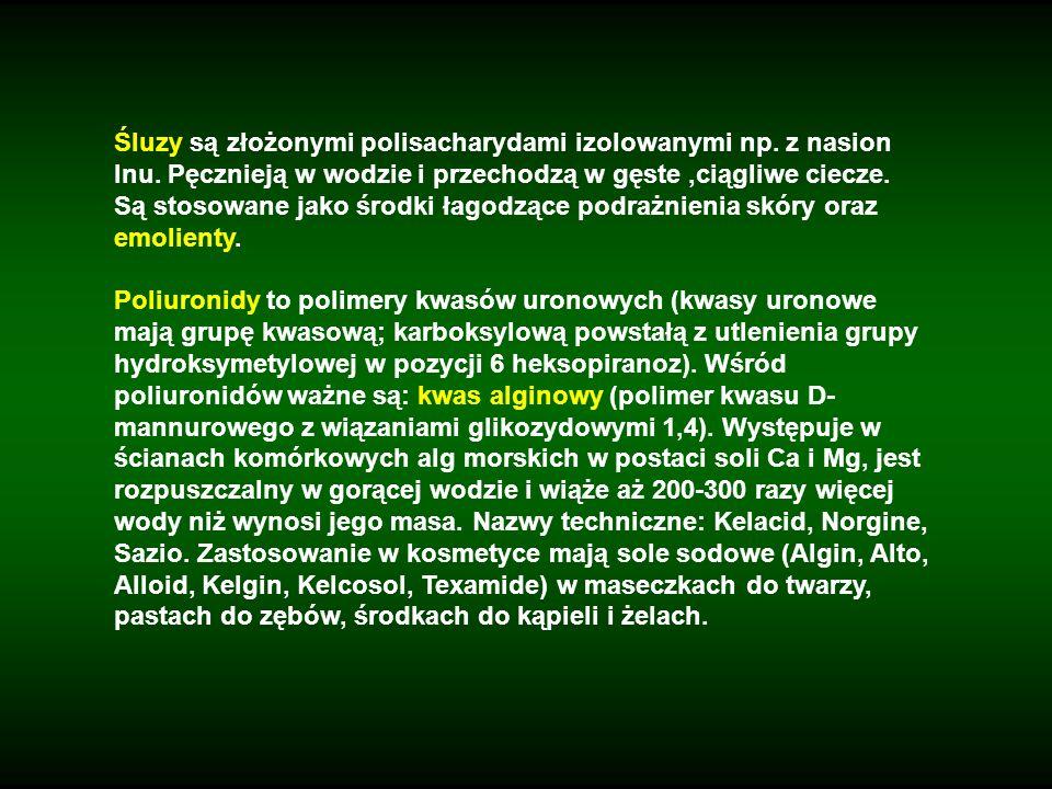 Śluzy są złożonymi polisacharydami izolowanymi np. z nasion lnu