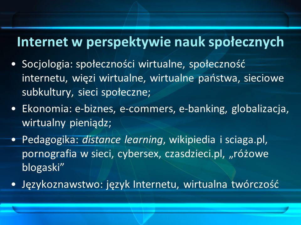 Internet w perspektywie nauk społecznych