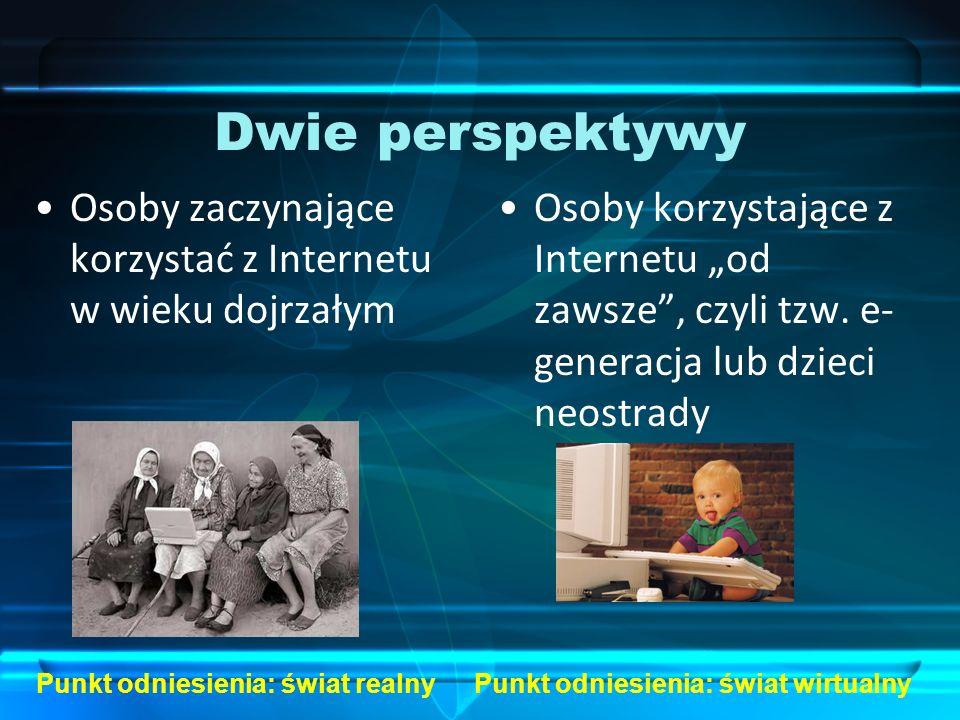 Dwie perspektywy Osoby zaczynające korzystać z Internetu w wieku dojrzałym.