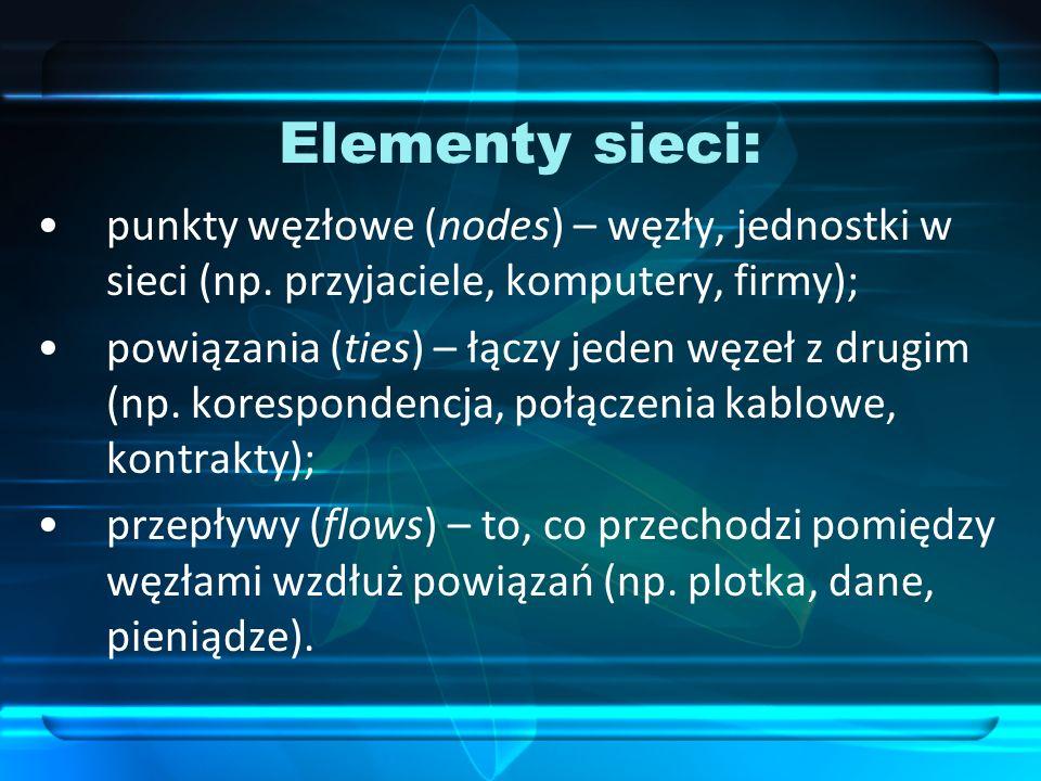 Elementy sieci: punkty węzłowe (nodes) – węzły, jednostki w sieci (np. przyjaciele, komputery, firmy);