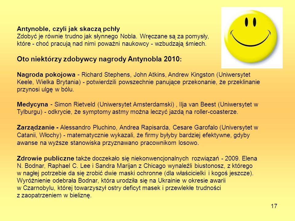 Oto niektórzy zdobywcy nagrody Antynobla 2010: