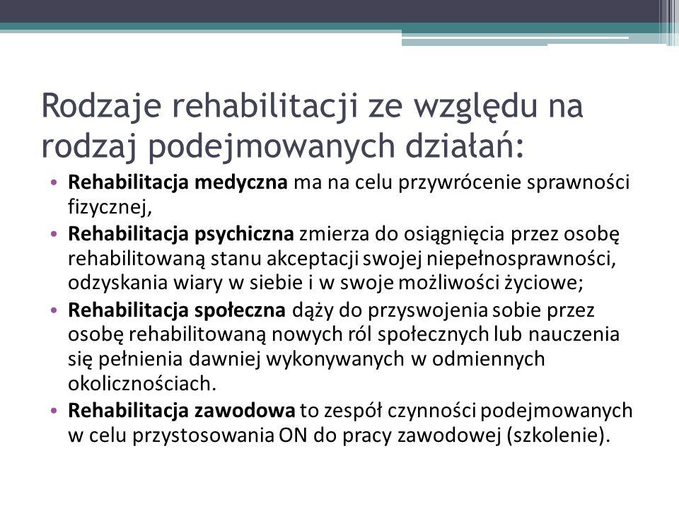 Rodzaje rehabilitacji ze względu na rodzaj podejmowanych działań:
