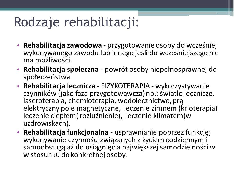 Rodzaje rehabilitacji: