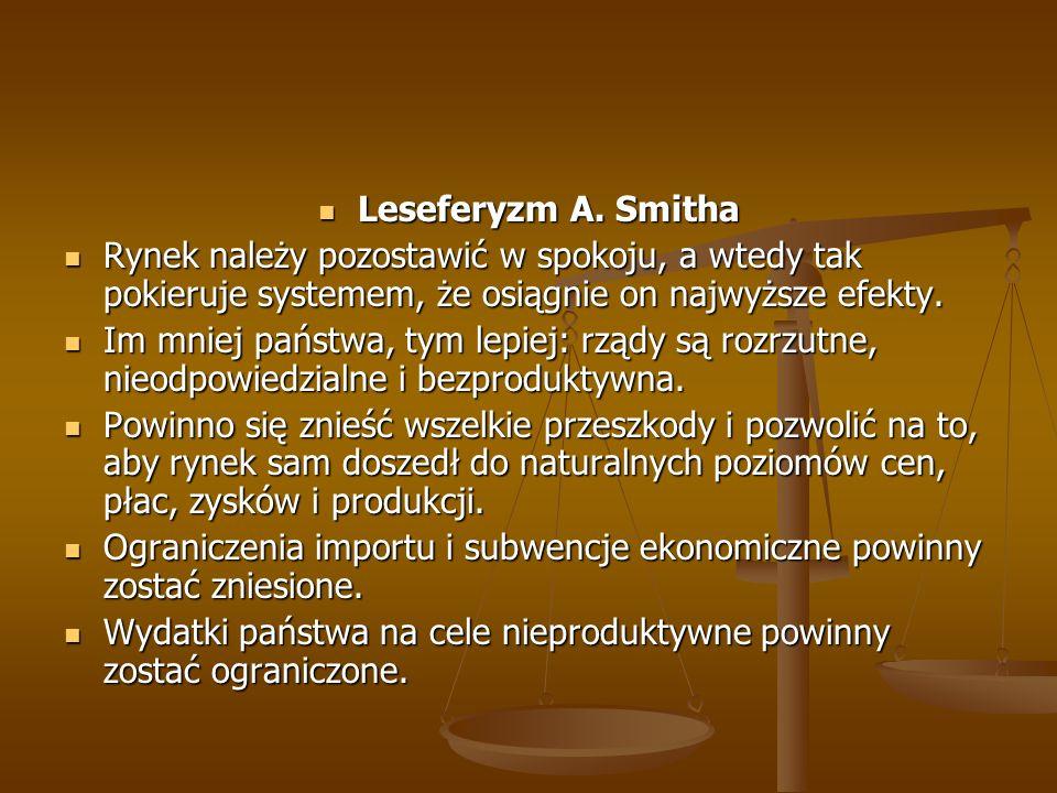 Leseferyzm A. Smitha Rynek należy pozostawić w spokoju, a wtedy tak pokieruje systemem, że osiągnie on najwyższe efekty.