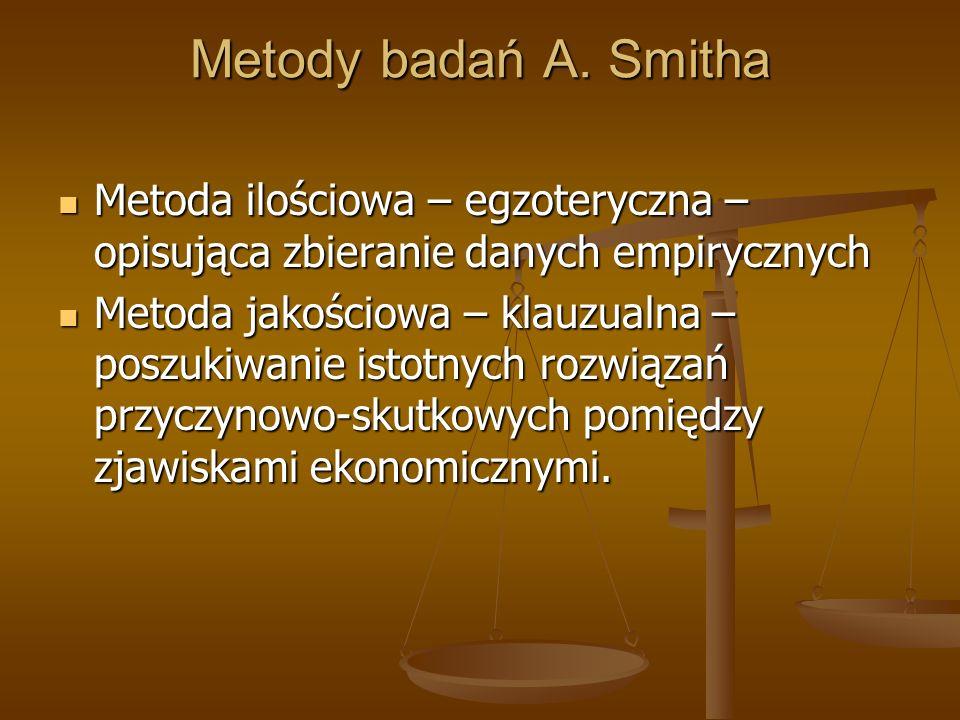 Metody badań A. Smitha Metoda ilościowa – egzoteryczna – opisująca zbieranie danych empirycznych.