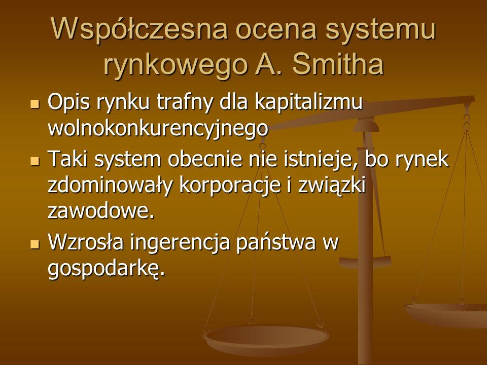 Współczesna ocena systemu rynkowego A. Smitha