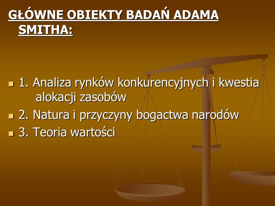 GŁÓWNE OBIEKTY BADAŃ ADAMA SMITHA:
