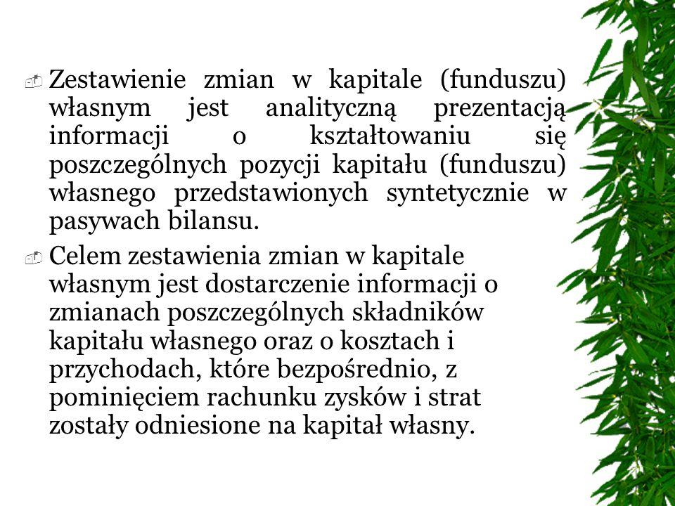 Zestawienie zmian w kapitale (funduszu) własnym jest analityczną prezentacją informacji o kształtowaniu się poszczególnych pozycji kapitału (funduszu) własnego przedstawionych syntetycznie w pasywach bilansu.