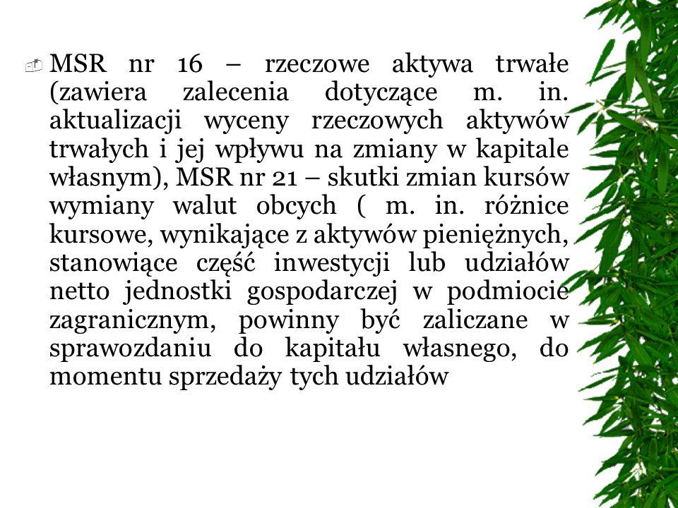 MSR nr 16 – rzeczowe aktywa trwałe (zawiera zalecenia dotyczące m. in