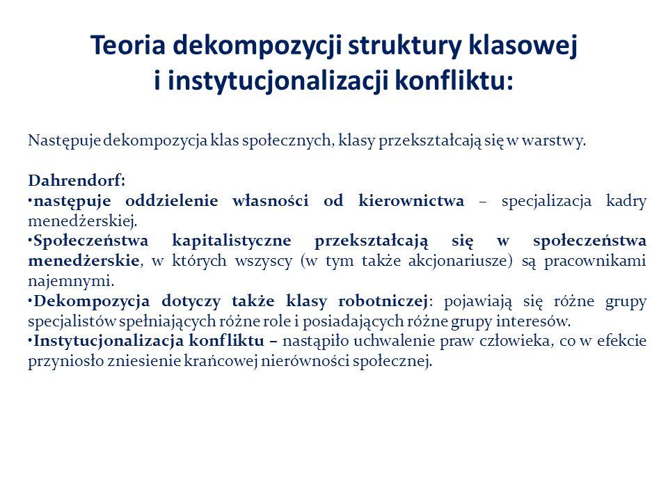 Teoria dekompozycji struktury klasowej i instytucjonalizacji konfliktu: