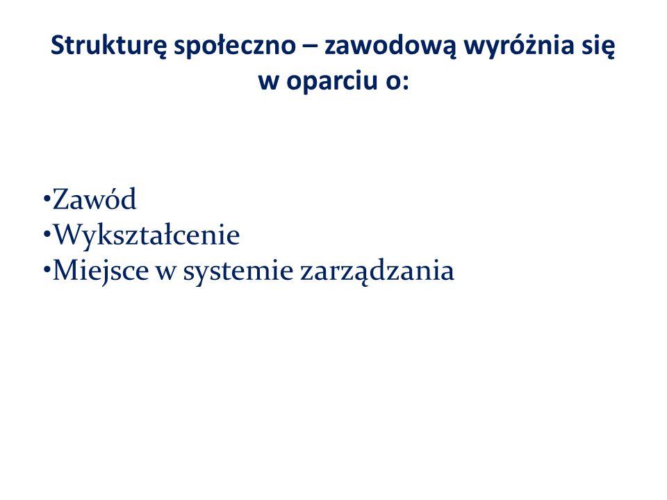 Strukturę społeczno – zawodową wyróżnia się w oparciu o: