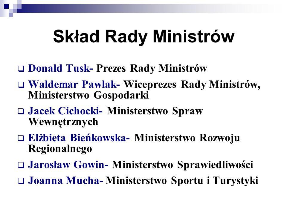 Skład Rady Ministrów Donald Tusk- Prezes Rady Ministrów