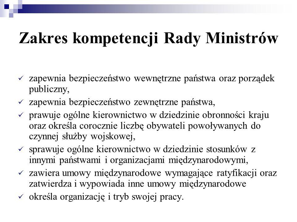 Zakres kompetencji Rady Ministrów