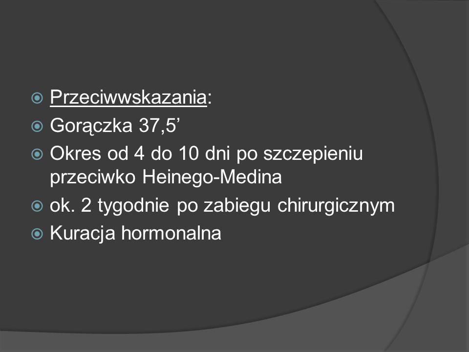 Przeciwwskazania: Gorączka 37,5' Okres od 4 do 10 dni po szczepieniu przeciwko Heinego-Medina. ok. 2 tygodnie po zabiegu chirurgicznym.