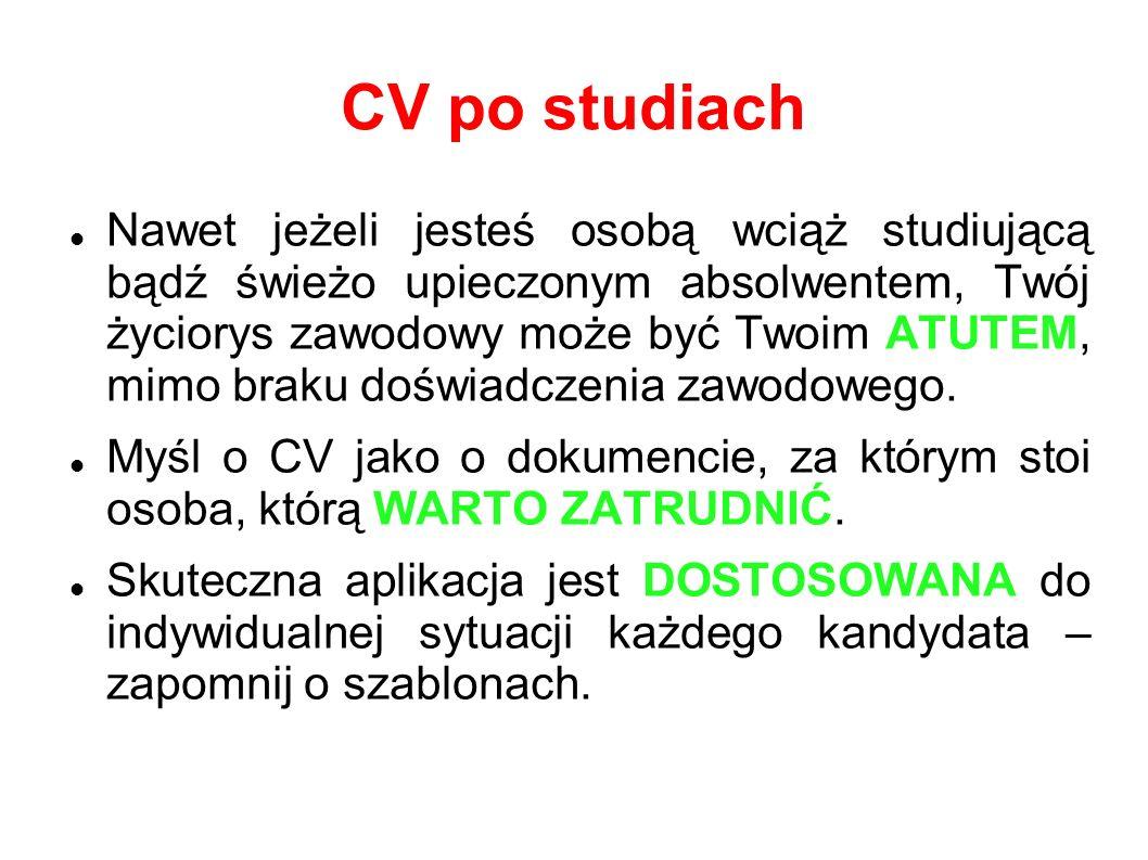 CV po studiach