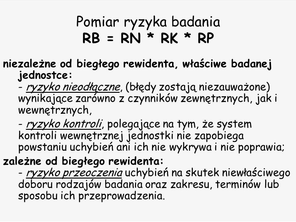 Pomiar ryzyka badania RB = RN * RK * RP