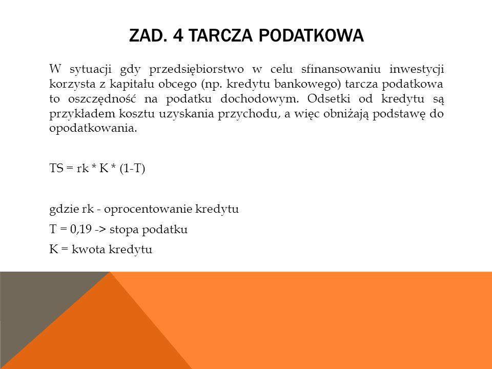 Zad. 4 Tarcza podatkowa