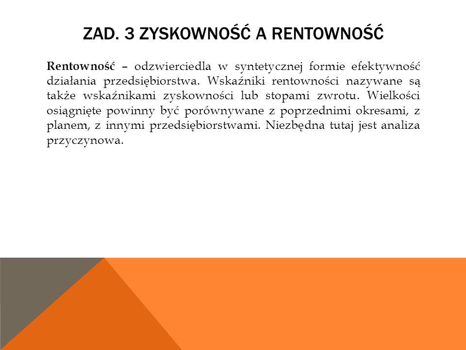 Zad. 3 Zyskowność a rentowność