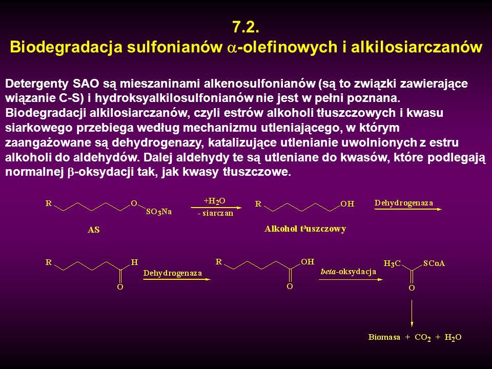 Biodegradacja sulfonianów -olefinowych i alkilosiarczanów