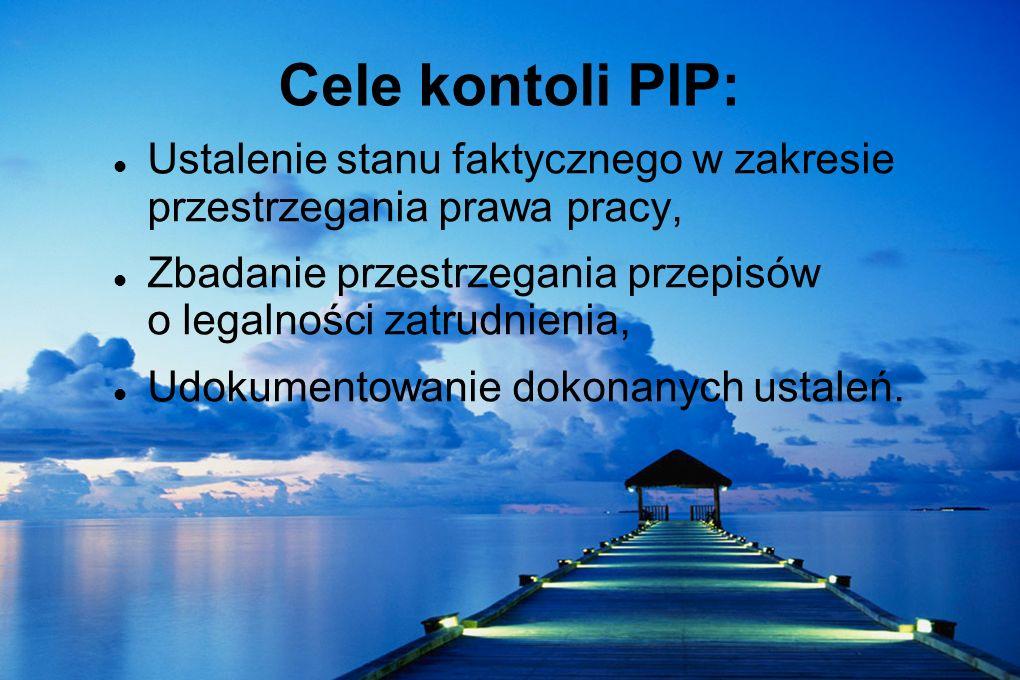 Cele kontoli PIP:Ustalenie stanu faktycznego w zakresie przestrzegania prawa pracy,