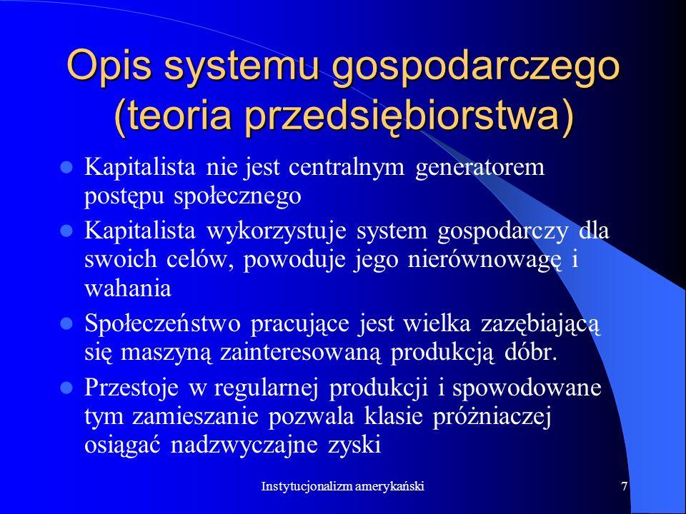 Opis systemu gospodarczego (teoria przedsiębiorstwa)