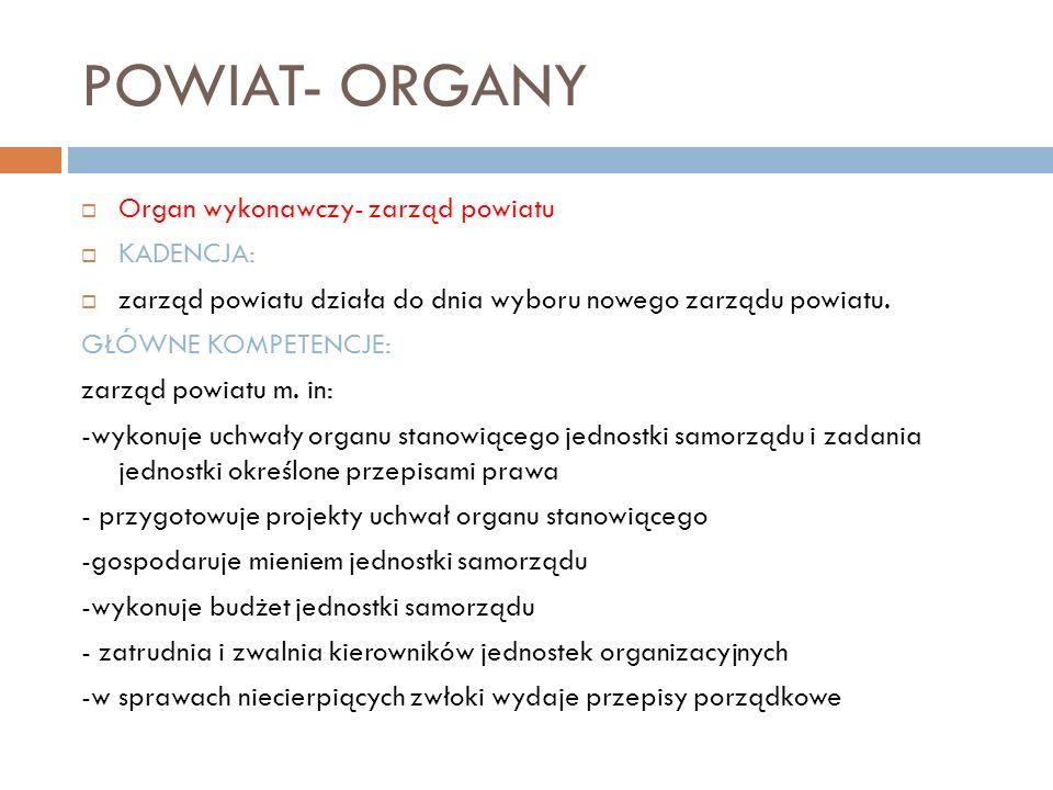 POWIAT- ORGANY Organ wykonawczy- zarząd powiatu KADENCJA: