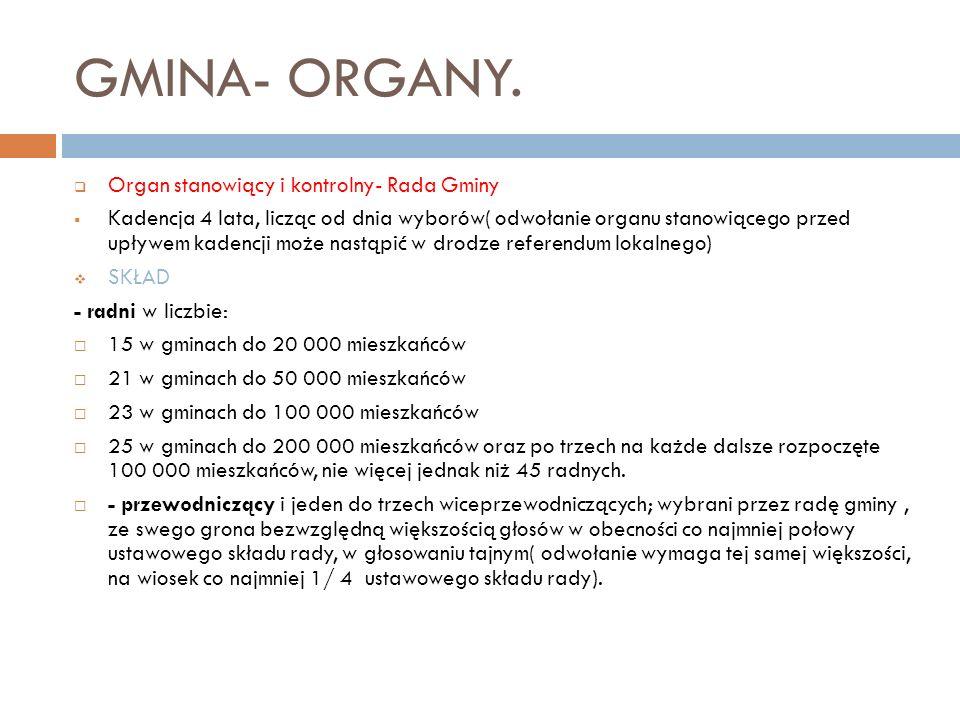 GMINA- ORGANY. Organ stanowiący i kontrolny- Rada Gminy