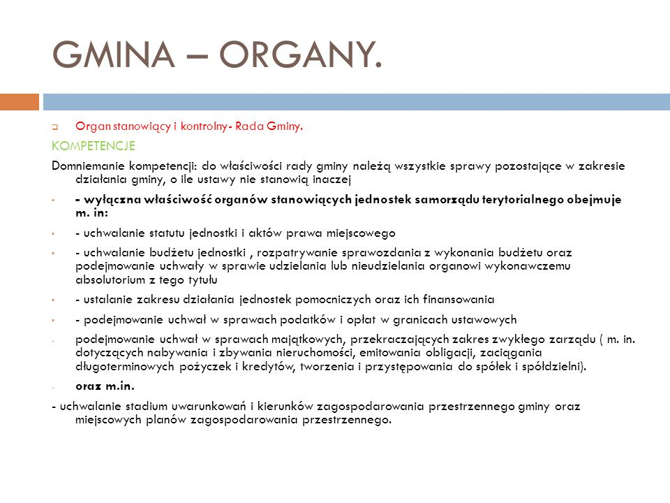 GMINA – ORGANY. KOMPETENCJE
