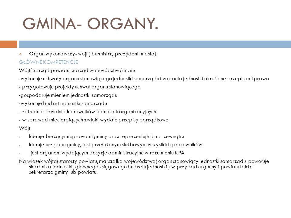 GMINA- ORGANY. Organ wykonawczy- wójt ( burmistrz, prezydent miasta)