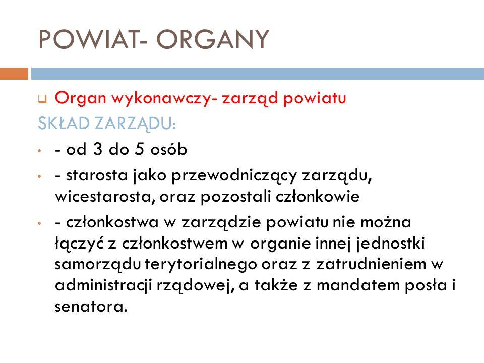 POWIAT- ORGANY Organ wykonawczy- zarząd powiatu SKŁAD ZARZĄDU: