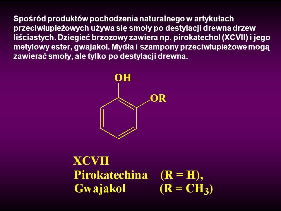 Spośród produktów pochodzenia naturalnego w artykułach przeciwłupieżowych używa się smoły po destylacji drewna drzew liściastych.