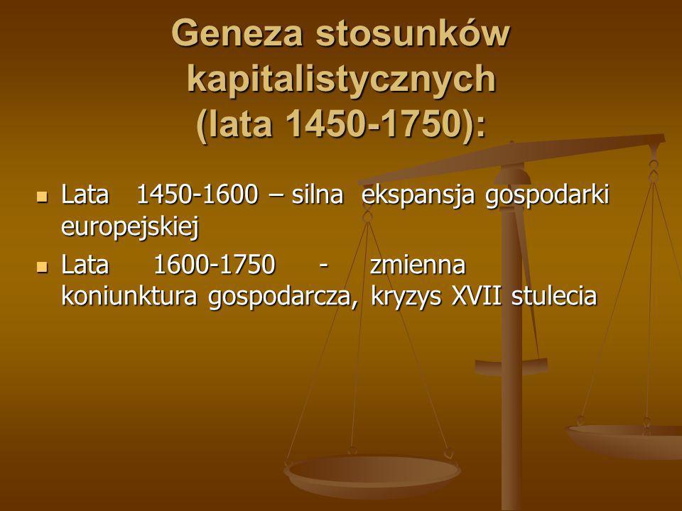 Geneza stosunków kapitalistycznych (lata 1450-1750):
