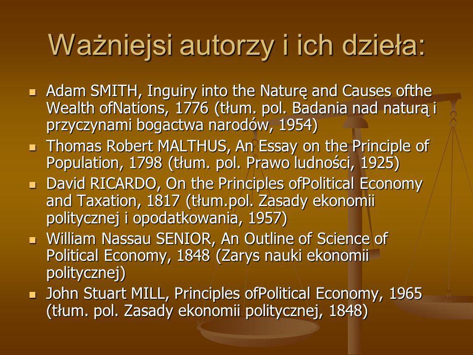 Ważniejsi autorzy i ich dzieła:
