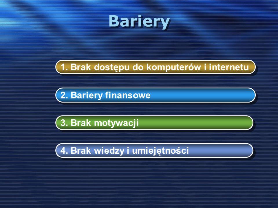 Bariery 1. Brak dostępu do komputerów i internetu 2. Bariery finansowe