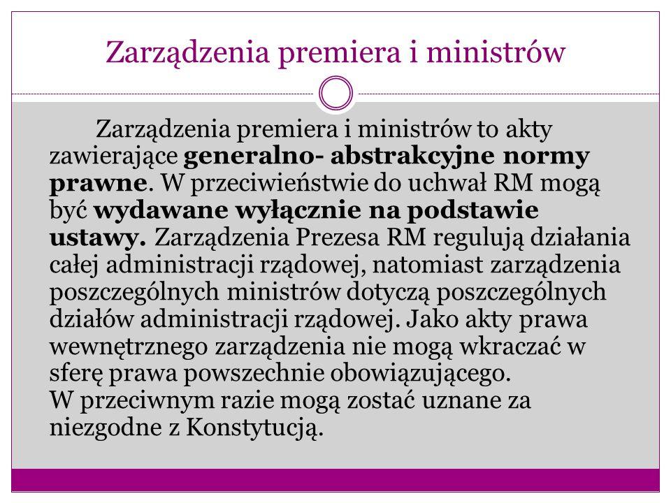 Zarządzenia premiera i ministrów