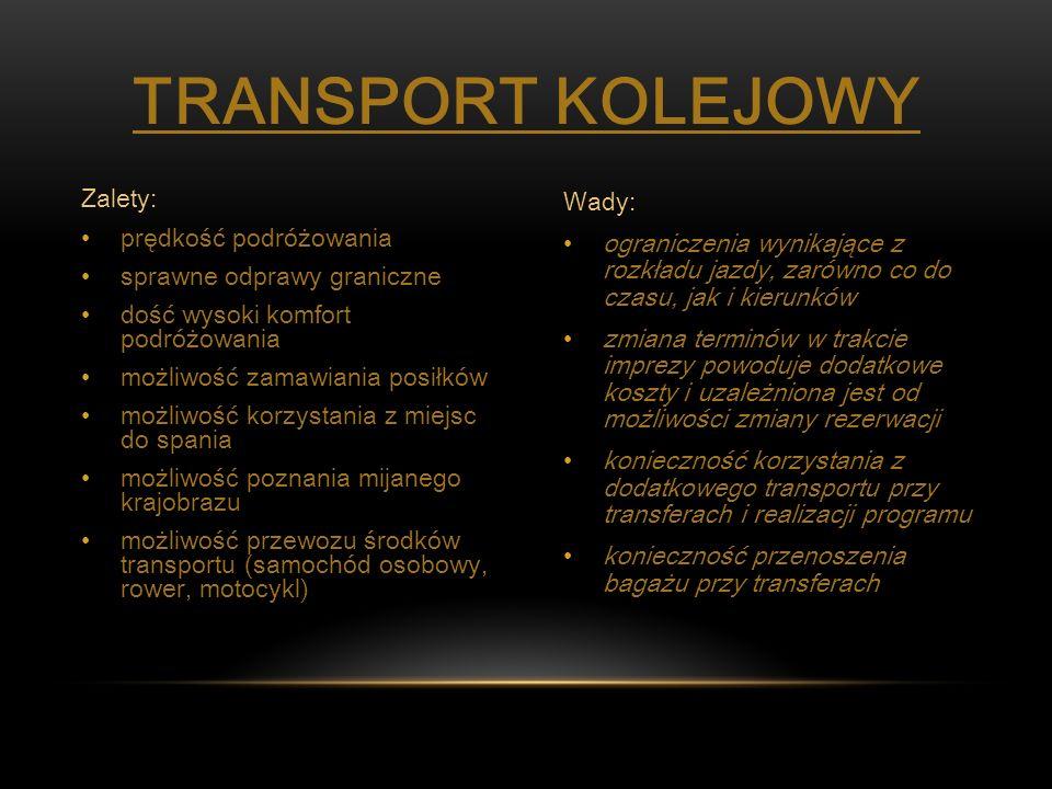 Transport kolejowy Zalety: prędkość podróżowania