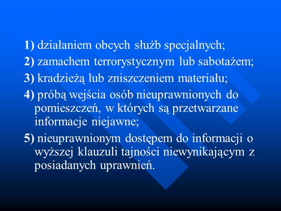 1) działaniem obcych służb specjalnych;