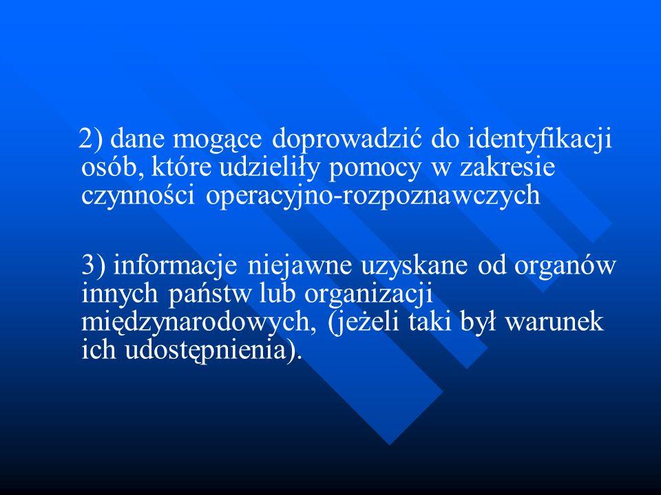 2) dane mogące doprowadzić do identyfikacji osób, które udzieliły pomocy w zakresie czynności operacyjno-rozpoznawczych