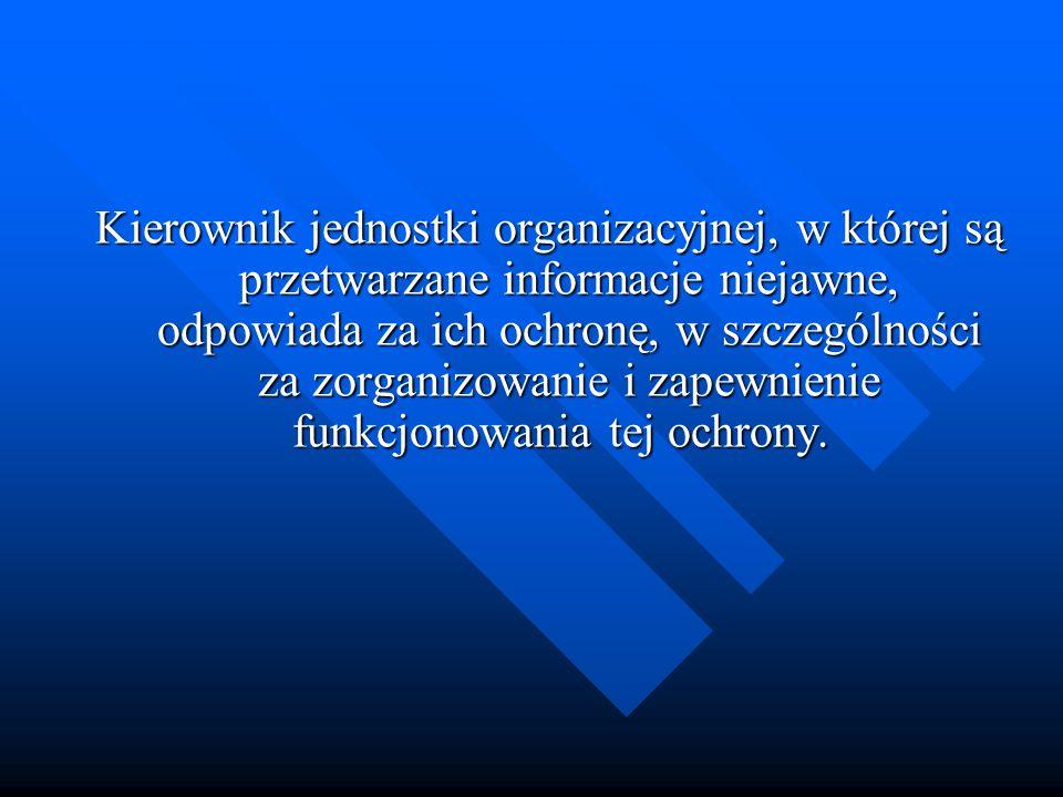Kierownik jednostki organizacyjnej, w której są przetwarzane informacje niejawne, odpowiada za ich ochronę, w szczególności za zorganizowanie i zapewnienie funkcjonowania tej ochrony.