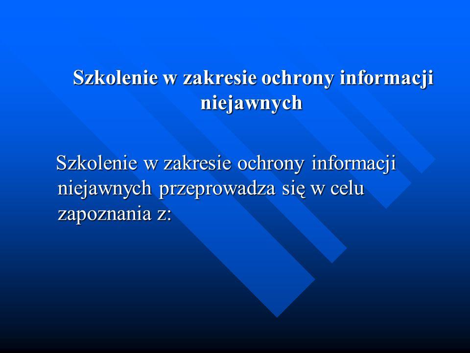 Szkolenie w zakresie ochrony informacji niejawnych