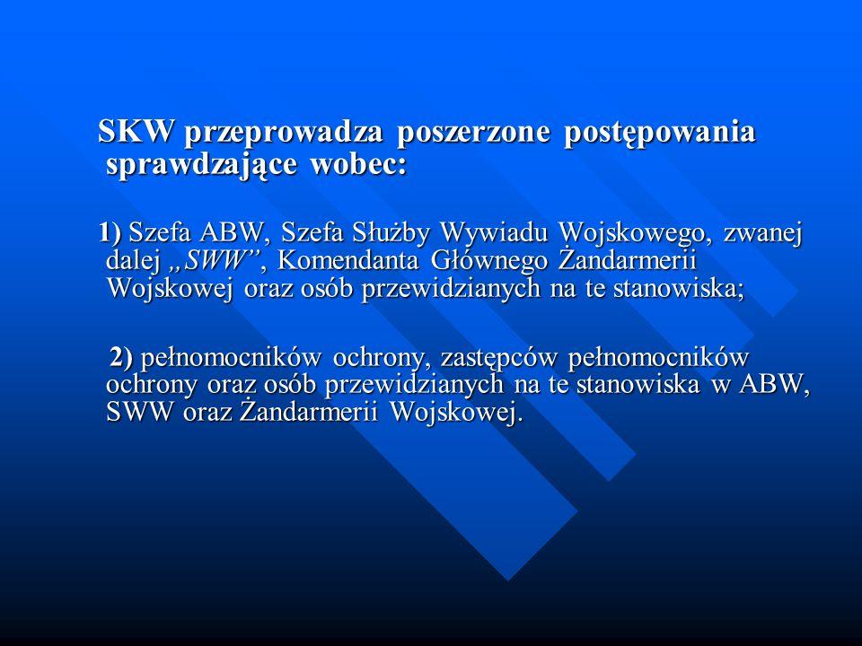 SKW przeprowadza poszerzone postępowania sprawdzające wobec: