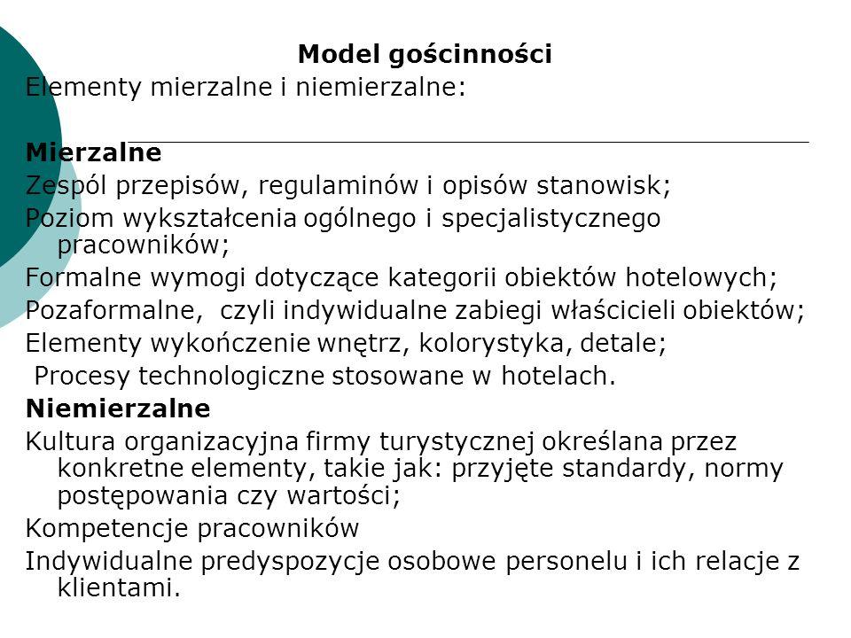 Model gościnności Elementy mierzalne i niemierzalne: Mierzalne. Zespól przepisów, regulaminów i opisów stanowisk;
