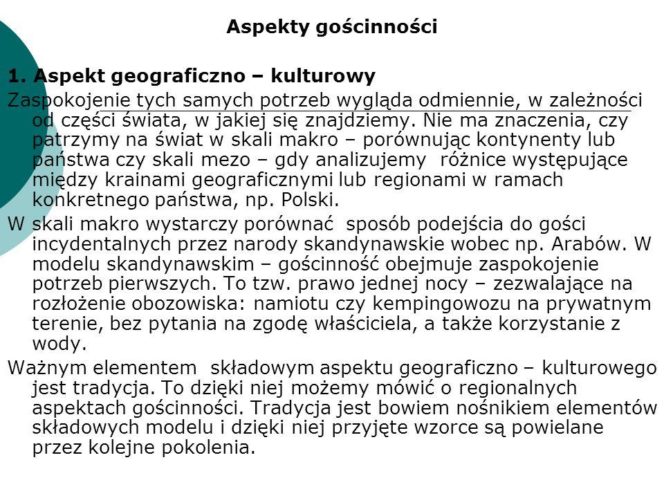 Aspekty gościnności 1. Aspekt geograficzno – kulturowy.