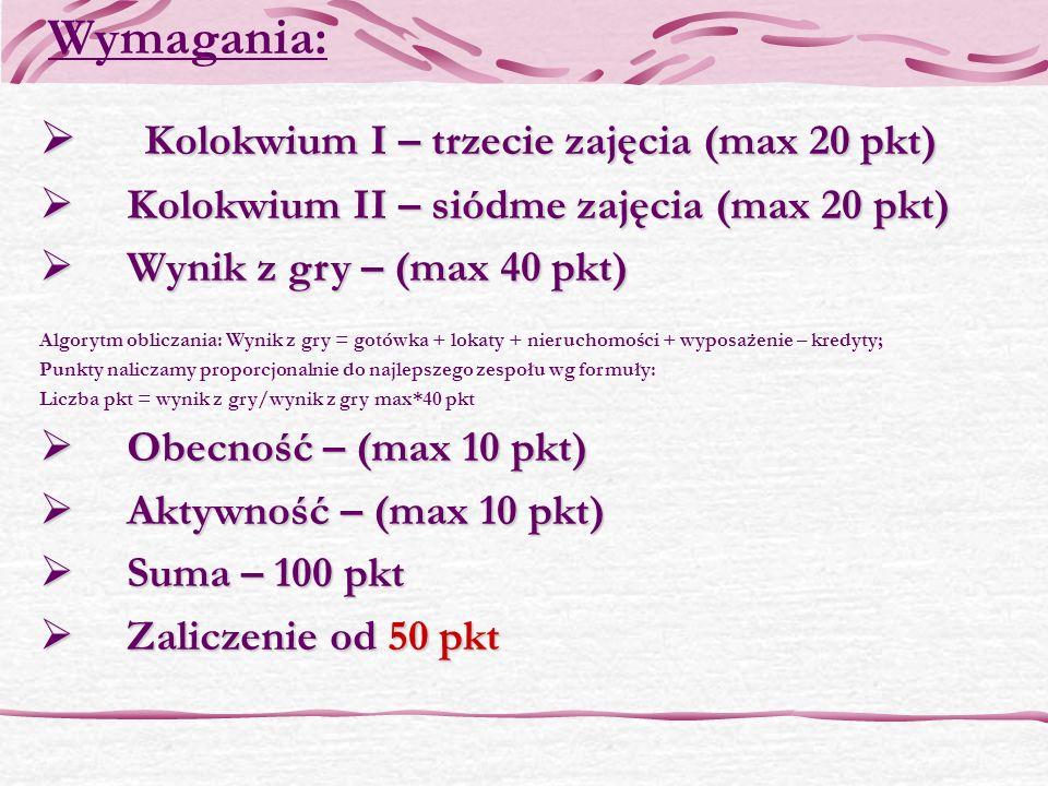 Wymagania: Kolokwium I – trzecie zajęcia (max 20 pkt)